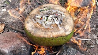 Yummy Cooking Mini Shrimp in Coconut Fruit