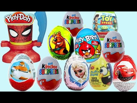 10 Surprise Eggs (Angry Birds, Disney Frozen & Play Doh Can Heads!)
