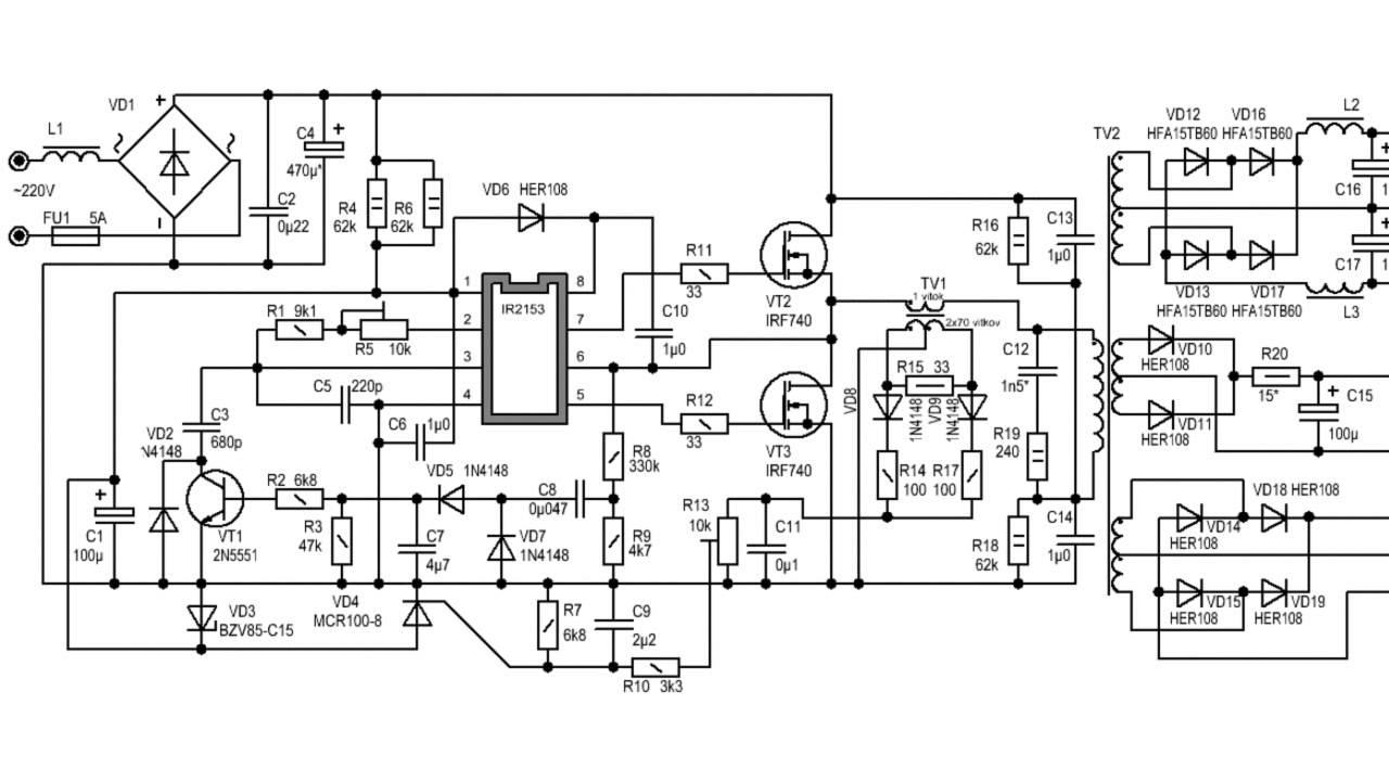 Схемы импульсных блоков питания 220-12 вольт