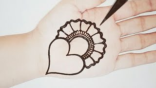 Simple and Attractive Love Heart Mehndi Design- Easy Mehndi for Beginners - Stylish Mehendi Designs