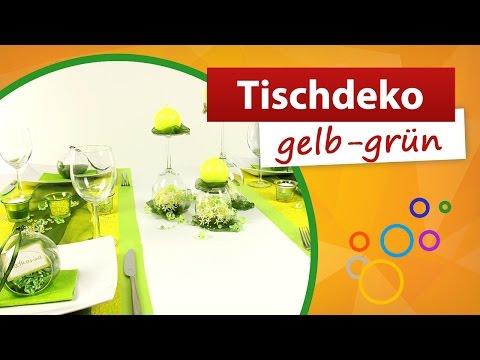 ♥ Tischdeko Gelb Grün ♥ Tischdekoration - Trendmarkt24