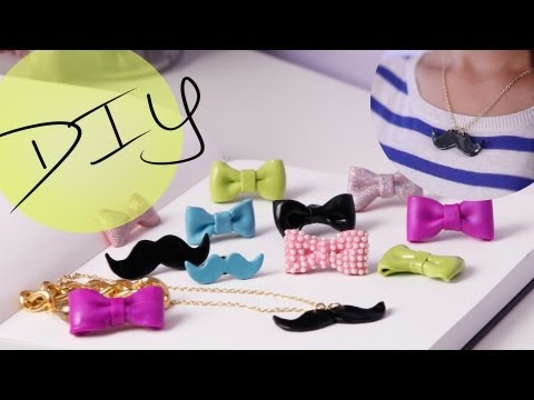DIY Cute Bow Ring & Mustache Necklace {How to Make}