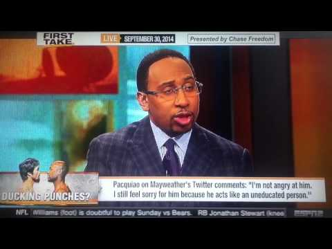 ESPN First Take: Manny Pacquiao and Floyd Mayweather exchange Twitter insults!*FULL