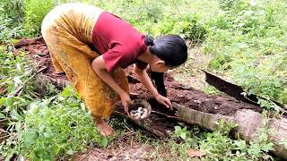 Pretty girl Find worm cook on rock - Pretty girl cooking worms eating delicious
