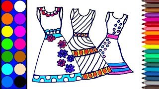 How to draw and color dresses for girls| Dress coloring page for kids | Color learning tutorial
