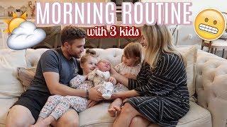 MORNING ROUTINE WITH 3 KIDS | NEWBORN, TODDLER AND PRESCHOOLER | Tara Henderson