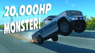 THE 20,000 HP MONSTER! - BeamNG Drive 20000HP+ D Series (Crashes and Funny Moments)
