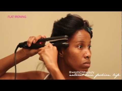 How To  Prepare Natural Hair For Silky Straight Flat Ironing Results + Relaxer Method