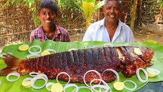 3 KG FISH FRY EATING | Whole Fish Cooking and Eating in Village | Kendai Meen Fry | Farmer Cooking