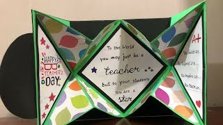 diamond fold card tutorial  by crafteholic|teachers day special card ideas|card for teachers day