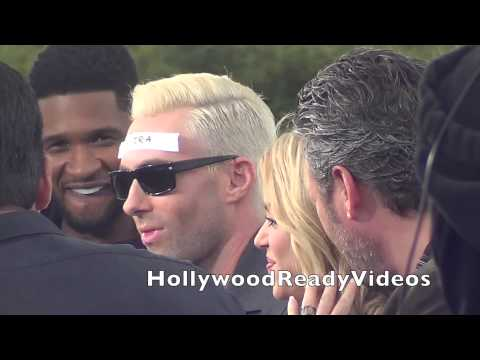 Shakira, Usher, Blake Shelton and Adam Levine leave their Extra appearance in Hollywood