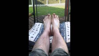 Young Guy Has Feet up and shows off dirty soles and flexes toes