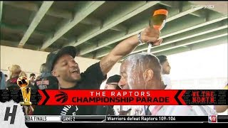 Norman Powell Showers Champagne on Reporter - 2019 Toronto Raptors Championship Parade