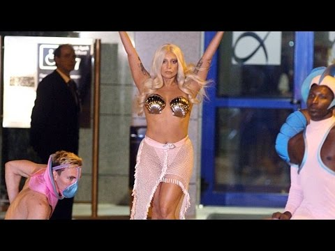 Lady Gaga Lands In Athens Wearing A Thong And Seashells!