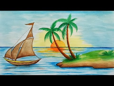 How to draw scenery of Island with water colour step by step