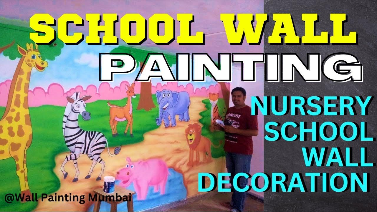 Play School Amp Kindergarten Wall Cartoon Painting