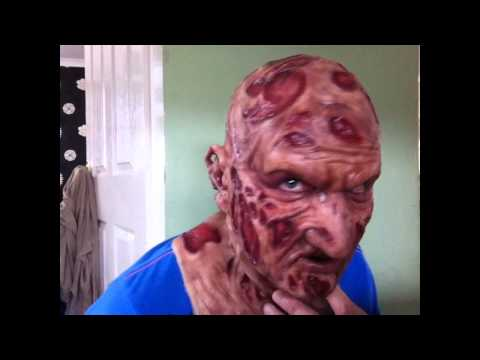 Putting on & taking off my part 1 Freddy Krueger silicone mask