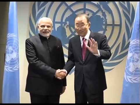 PM Modi meets Ban Ki-moon in New York at the United Nations Headquarters