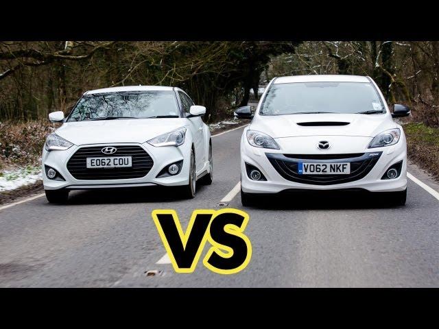 Car Battle: Mazda3 MPS vs Hyundai Veloster Turbo - YouTube