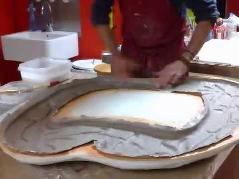 Como hacer un espejo de cart n piedra papel mach youtube for Como hacer un espejo