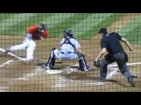 huge home plate collision between Brian Jeroloman and Brandon Douglas