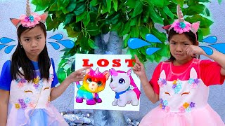 Emma and Jannie Look for Their Lost Cat | Kids Animal Story