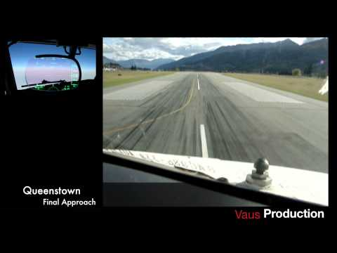 737 Cockpit view  - landing in Queenstown New Zealand