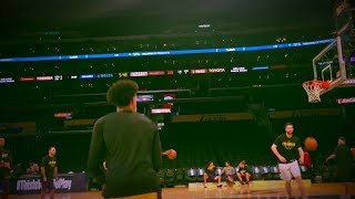 Lonzo Ball gets up some shots pregame before Jazz preseason game | ESPN