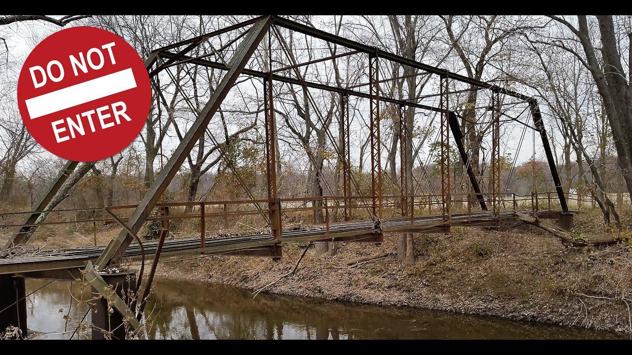 Old Abandoned Steel Truss bridge over Indian Creek in Bond County ...