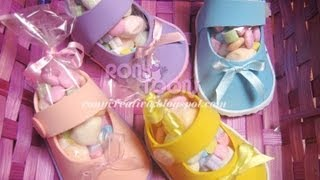 ZAPATITOS DE NIÑA PARA BABY SHOWER CON FOAMY O GOMA EVA / Baby Shower souvenir DIY
