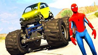 LEARN COLORS OFFROAD MONSTR CARS Transportation & Spiderman for Children Superheroes Kids Cartoon