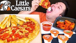 My First Time Trying Little Caesars Pizza & Wings • MUKBANG