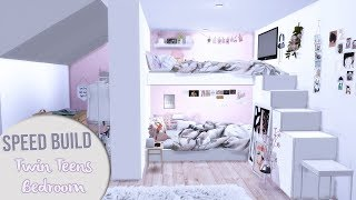 The Sims 4 Speed Build   TWIN TEENS BEDROOM + CC Links