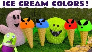 Funny Funlings Learn Colors with Spooky Ghost Play Doh Ice Cream Game