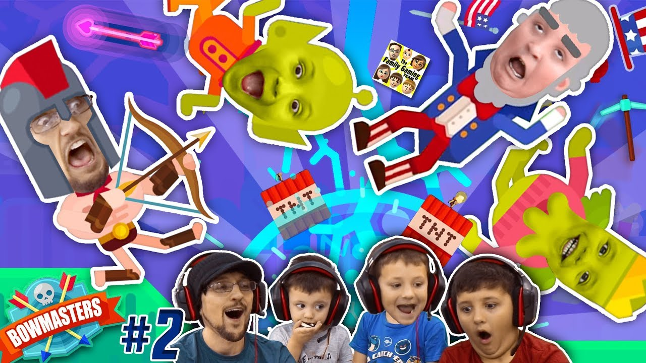 OW, This Game Hurts!!! BOWMASTERS w/ FGTEEV BOYS ... Who's The Master of the Bow? (#2 Gameplay)