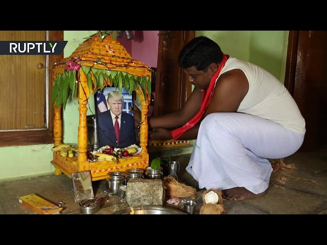Trump worshipped as God by an Indian village resident