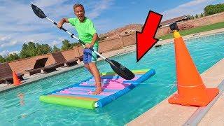 Pool Noodle Raft Racing Experiment Backyard Swimming Pool Challenge?!