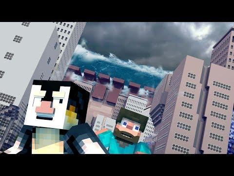 Minecraft | TSUNAMI TEAM BASE CHALLENGE 2 - Tsunami Destroys City! (Base vs Tsunami)