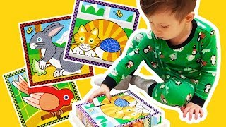 Learn animals for toddlers with toy puzzle Learn colors for babies 🐈 Animal videos for babies