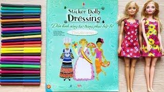 Đồ chơi dán hình trang điểm váy đầm búp bê -Trang phục các nước P2 -Sticker Dolly Dress (Chim Xinh)