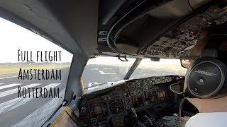 Full flight from Schiphol runway 36L to Rotterdam, landing runway 24.