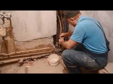 Своими руками прячем трубы в стены,в ванной комнате ч.1 - Clip Video