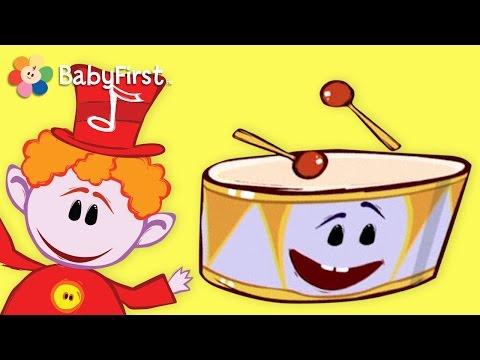 BabyFirstTV: Las Notas Musicales El Tambor Aprende ritmo rápido y lento