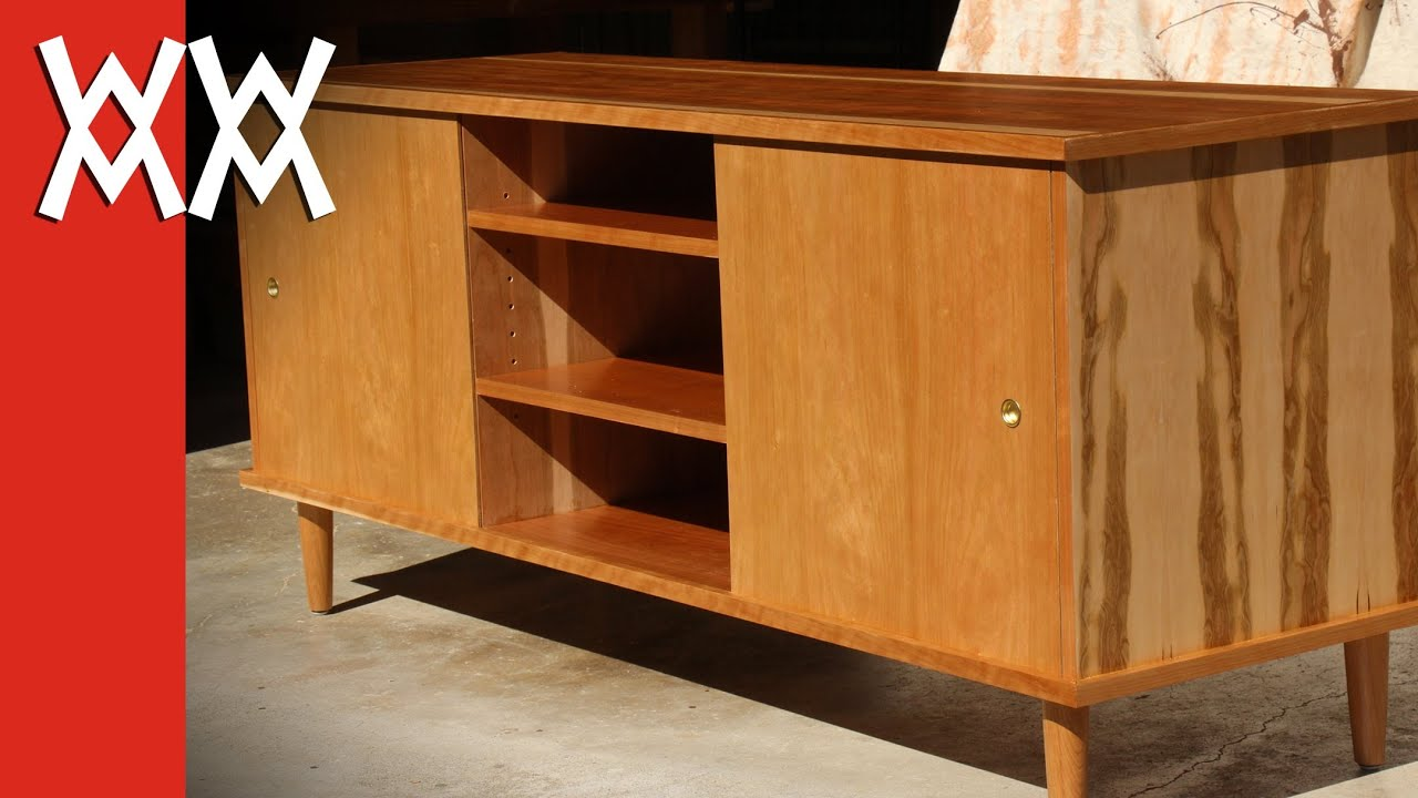 Build a 39 50s style credenza tv cabinet youtube for How to make tv cabinet