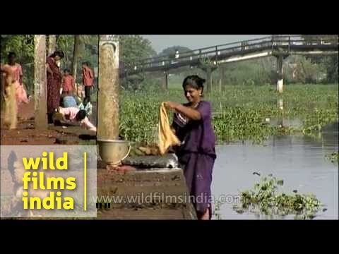 Washing clothes the Mallu way- Kerala Village