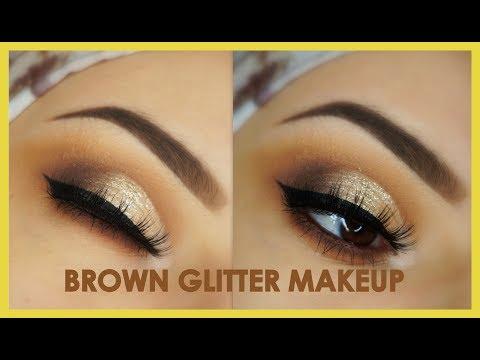 Classic Brown Glitter Eye Makeup Tutorial   ABH Modern Renaissance