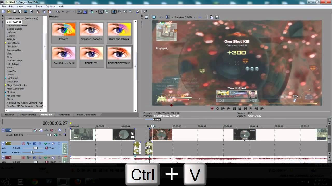 how to make a split screen video sony vegas