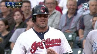 KC@CLE: Indians poke fun at Giambi on first base