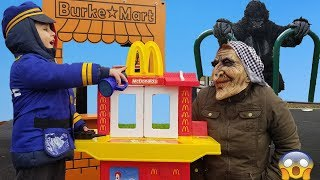 McDonald's Drive Pretend Play || Cop LOCKED UP Gorilla in Jail || Funny Videos For Kids