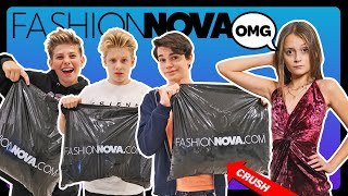My Crush Picks My FASHION NOVA OUTFITS Challenge **KIDS REACT**👗👠| Sophie Fergi, Piper Rockelle